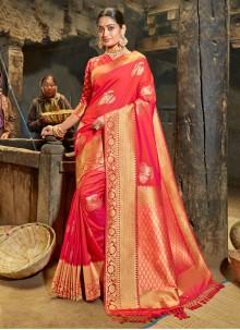 Orange and Pink Weaving Banarasi Silk Half N Half Trendy Saree