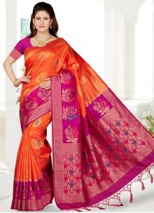 Orange and Rani Art Silk Weaving Traditional Saree