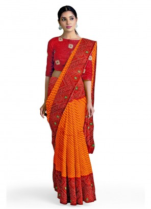 Orange and Red Abstract Print Faux Georgette Casual Saree