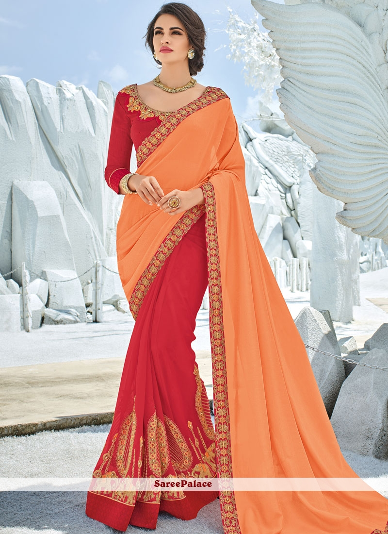 Orange and Red Art Silk Festival Half N Half Designer Saree