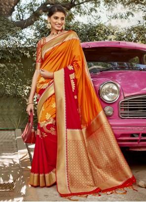 Orange and Red Banarasi Silk Weaving Traditional Designer Saree