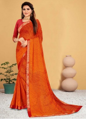 Orange and Red Lace Shaded Saree