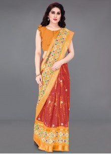 Orange and Red Print Cotton Saree