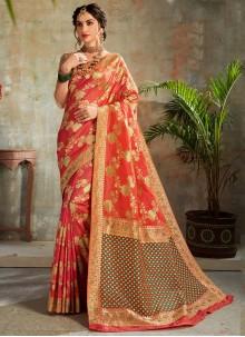 Orange and Red Weaving Silk Trendy Saree