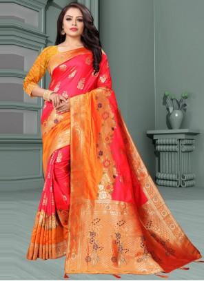 Orange and Rose Pink Weaving Traditional Designer Saree