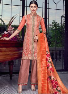 Orange and Rust Embroidered Festival Designer Pakistani Suit
