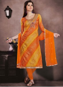 Orange and Yellow Chanderi Cotton Casual Churidar Suit