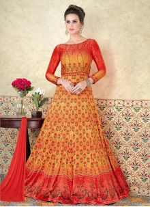 Orange and Yellow Cotton Satin Floor Length Anarkali Suit