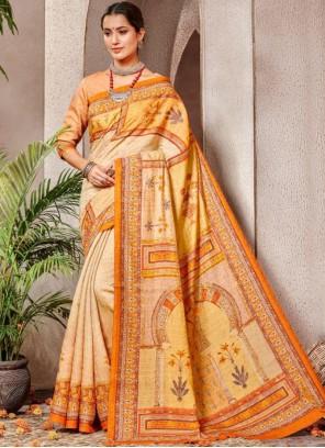 Orange and Yellow Digital Print Banarasi Silk Classic Saree