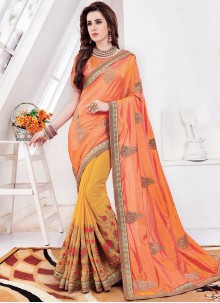 Orange and Yellow Embroidered Half N Half Trendy Saree
