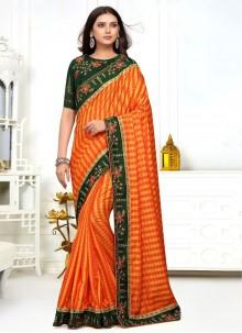 Orange and Yellow Embroidered Silk Classic Saree