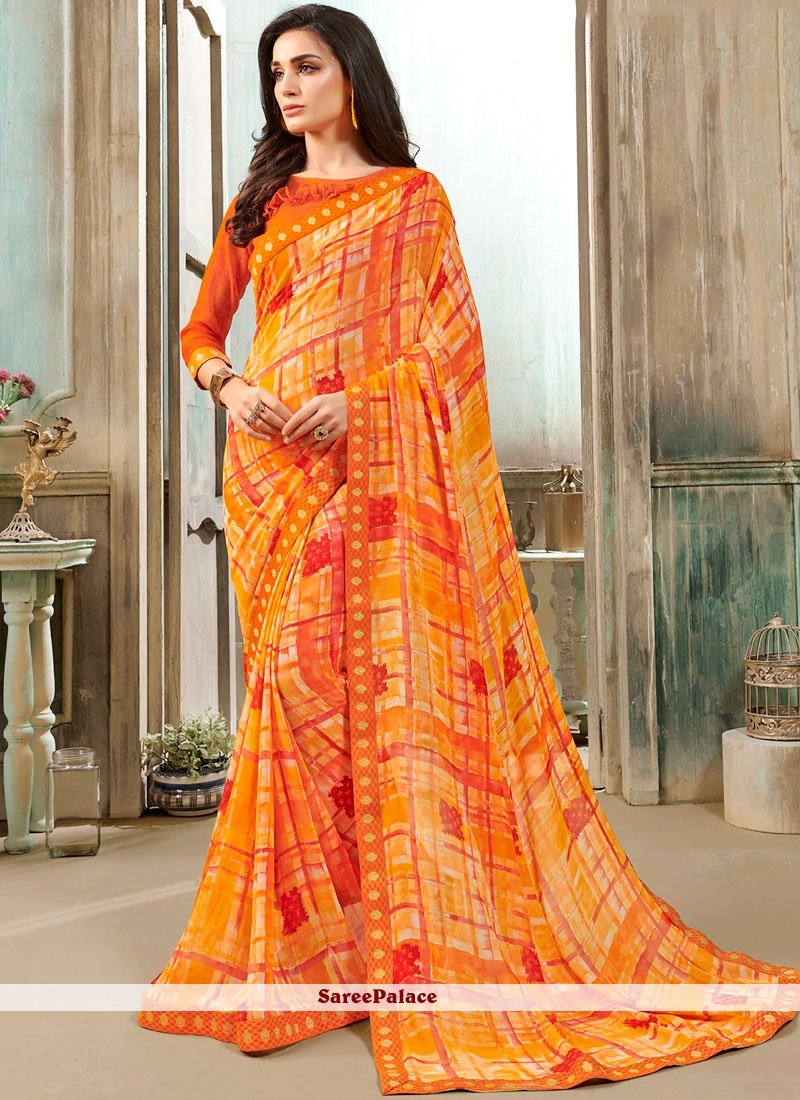 Orange and Yellow Faux Georgette Festival Casual Saree