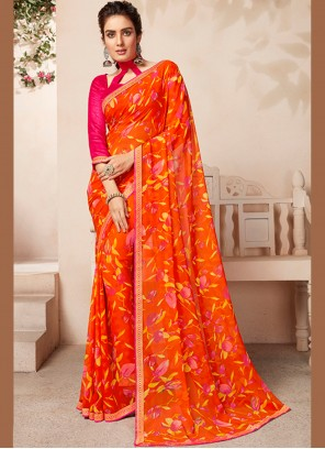 Orange and Yellow Faux Georgette Party Casual Saree
