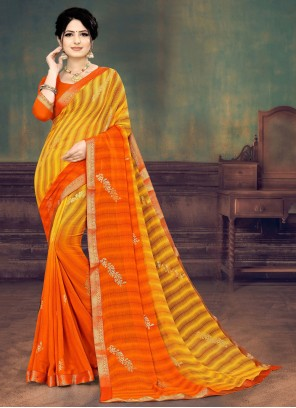 Orange and Yellow Festival Faux Georgette Shaded Saree