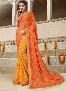 Orange and Yellow Printed Designer Saree