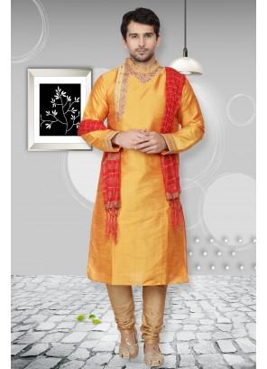 Orange Art Dupion Silk Embroidered Kurta Pyjama
