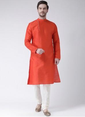 Orange Art Dupion Silk Festival Kurta Pyjama