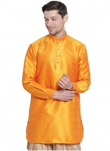 Orange Art Dupion Silk Sangeet Kurta