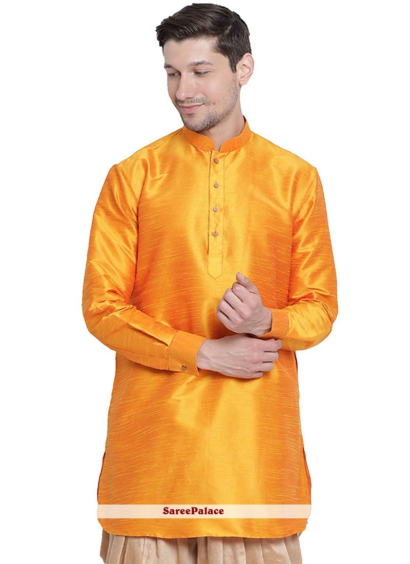Orange Art Dupion Silk Sangeet Kurta