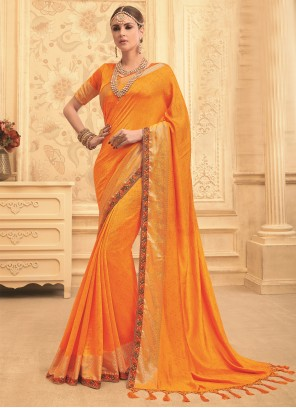 Orange Art Silk Bridal Designer Traditional Saree
