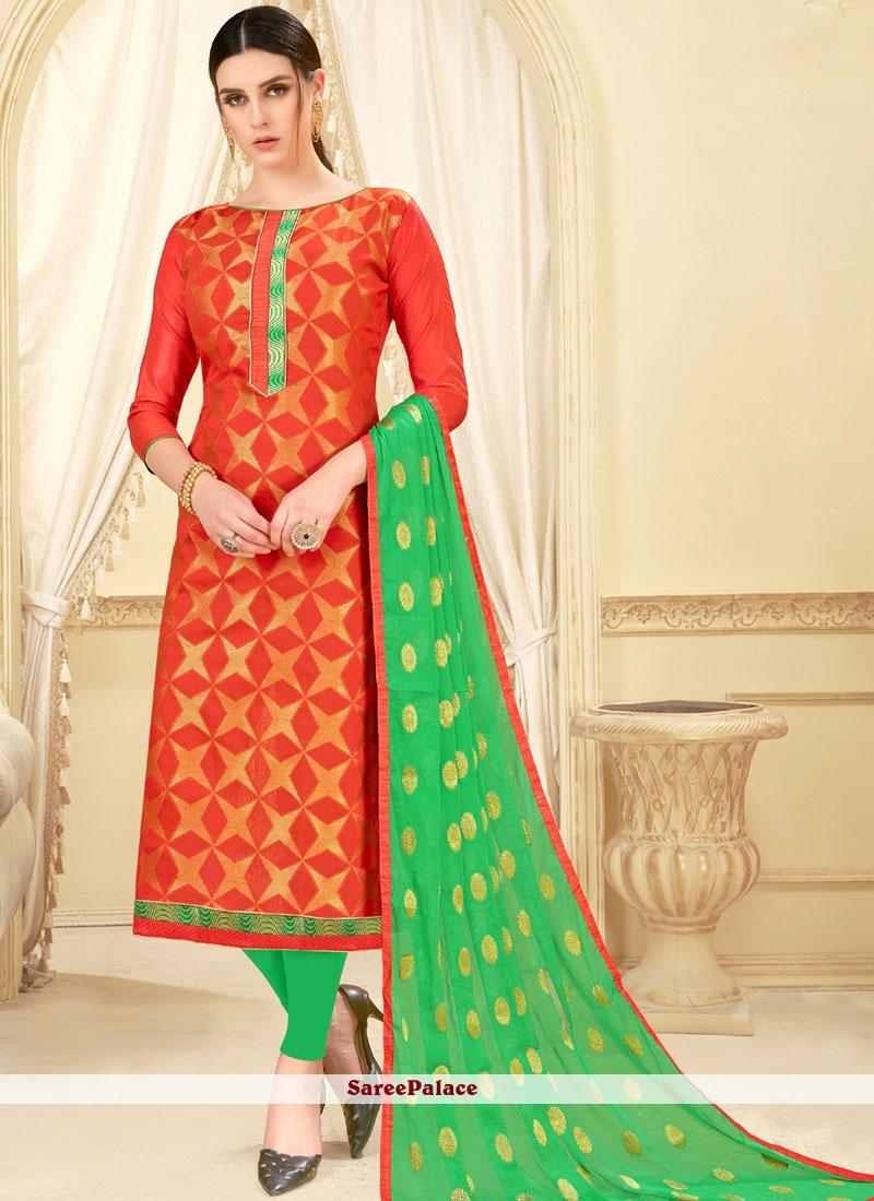 Orange Art Silk Casual Churidar Suit