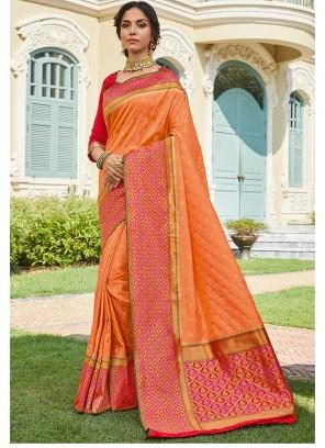 Orange Art Silk Classic Designer Saree