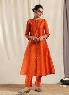 Orange Art Silk Designer Kurti
