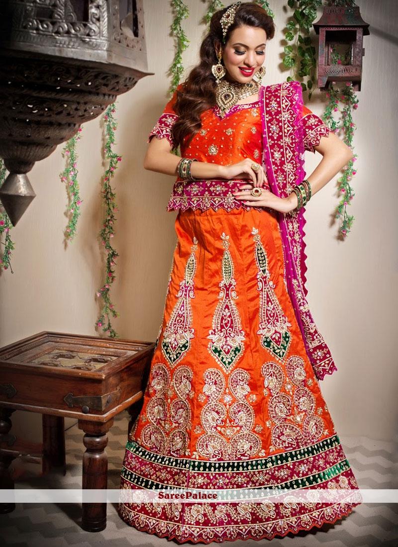 Orange Art Silk Designer Lehenga Choli