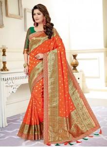 Orange Art Silk Embroidered Designer Traditional Saree