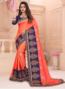 Orange Art Silk Embroidered Traditional Designer Saree