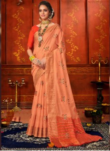 Orange Art Silk Party Classic Saree