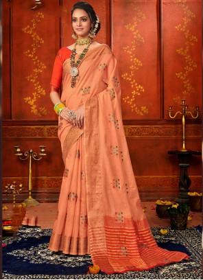 Orange Art Silk Party Classic Saree