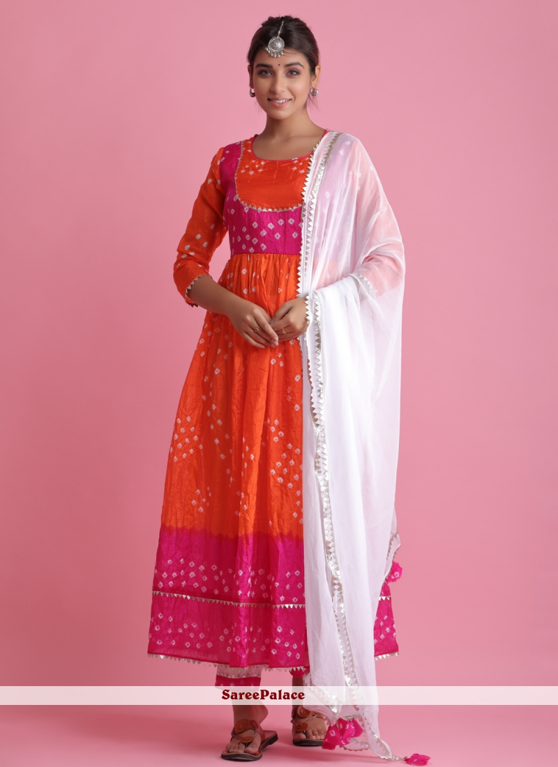 Orange Art Silk Readymade Suit