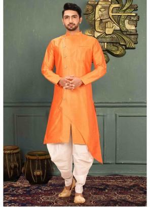 Orange Art Silk Reception Kurta Pyjama