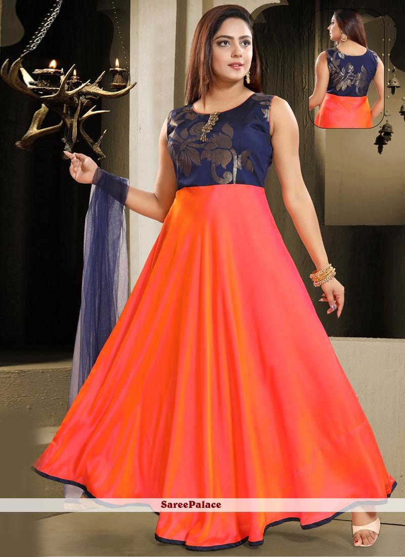 Orange Art Silk Salwar Kameez