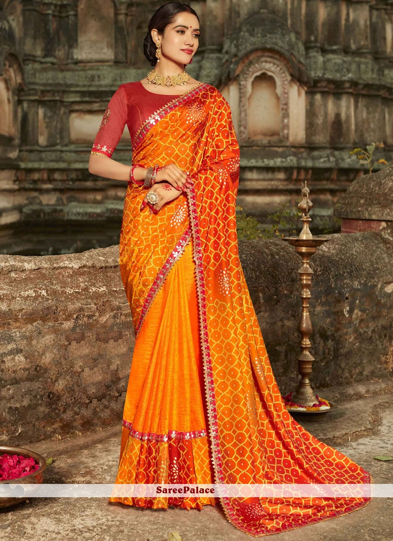 Orange Art Silk Traditional Designer Saree
