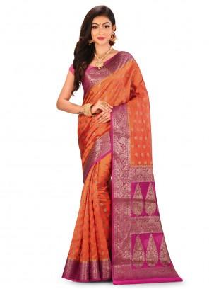 Orange Banarasi Silk Bollywood Saree