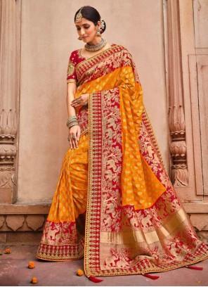 Orange Banarasi Silk Classic Designer Saree