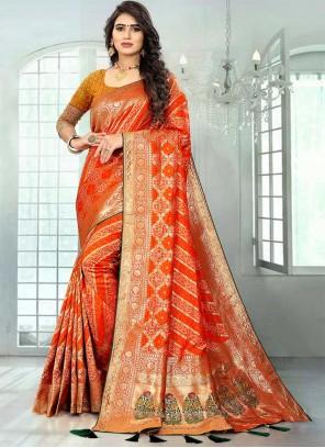 Orange Banarasi Silk Designer Saree