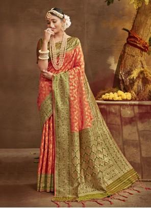 Orange Banarasi Silk Designer Traditional Saree