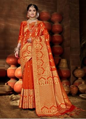 Orange Banarasi Silk Festival Traditional Saree