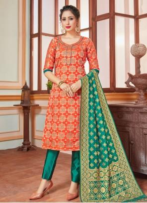 Orange Banarasi Silk Weaving Trendy Salwar Suit