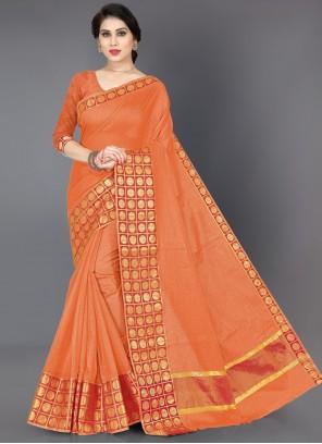 Orange Border Casual Classic Saree