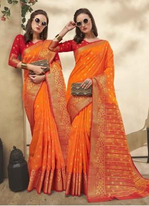 Orange Casual Classic Saree