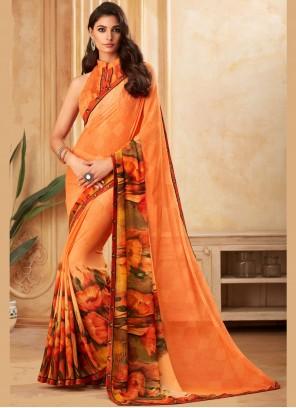 Orange Casual Designer Saree