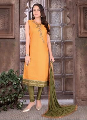 Orange Ceremonial Art Silk Readymade Suit