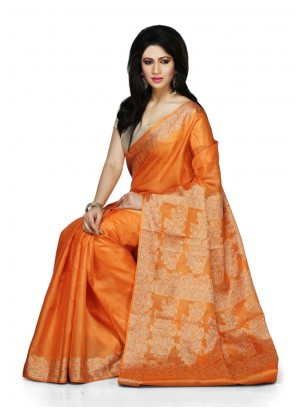 Orange Ceremonial Designer Traditional Saree