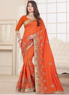Orange Ceremonial Fancy Fabric Designer Traditional Saree