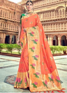 Orange Ceremonial Silk Saree