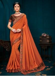 Orange Ceremonial Trendy Saree